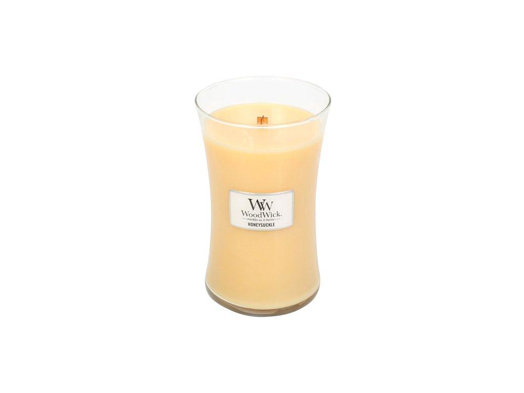 Svíčka oválná váza WoodWick Zimolez a jasmín 609.5 g
