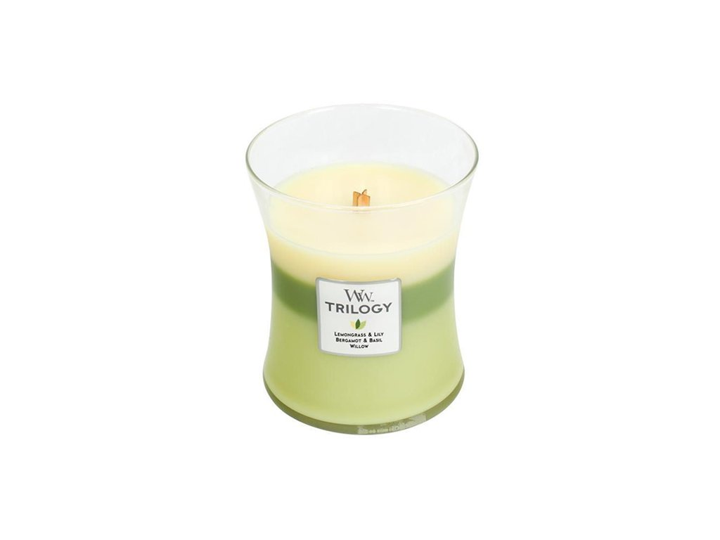 Svíčka Trilogy WoodWick Zelená oáza, 275 g