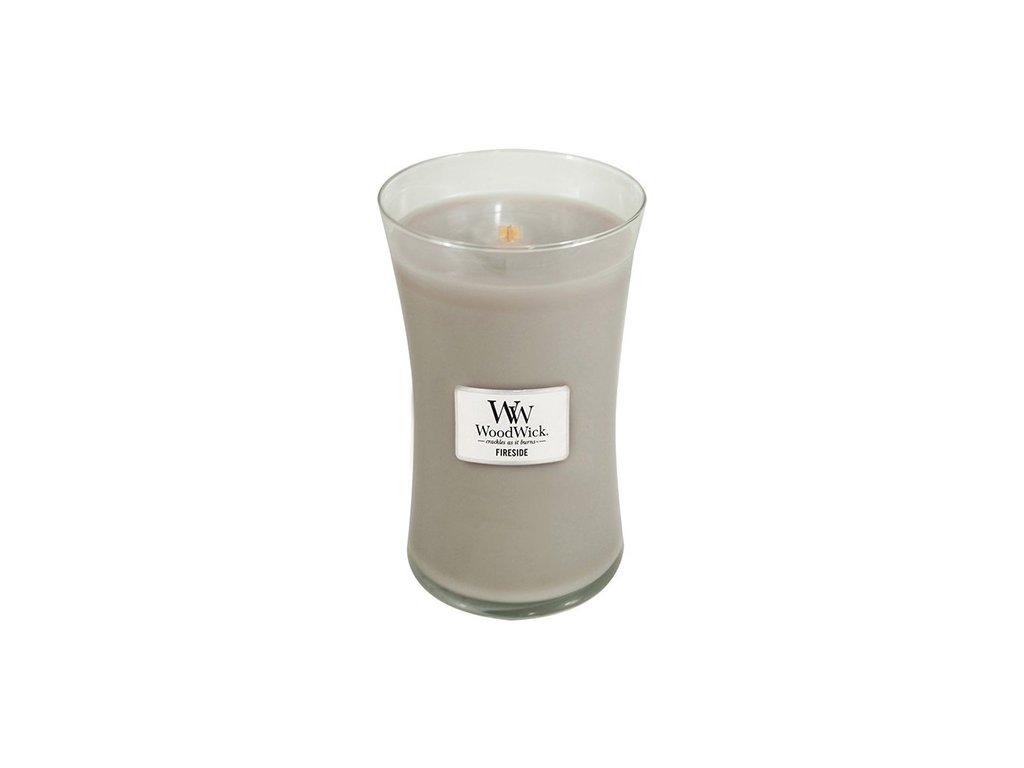 Svíčka oválná váza WoodWick Oheň v krbu 609.5 g