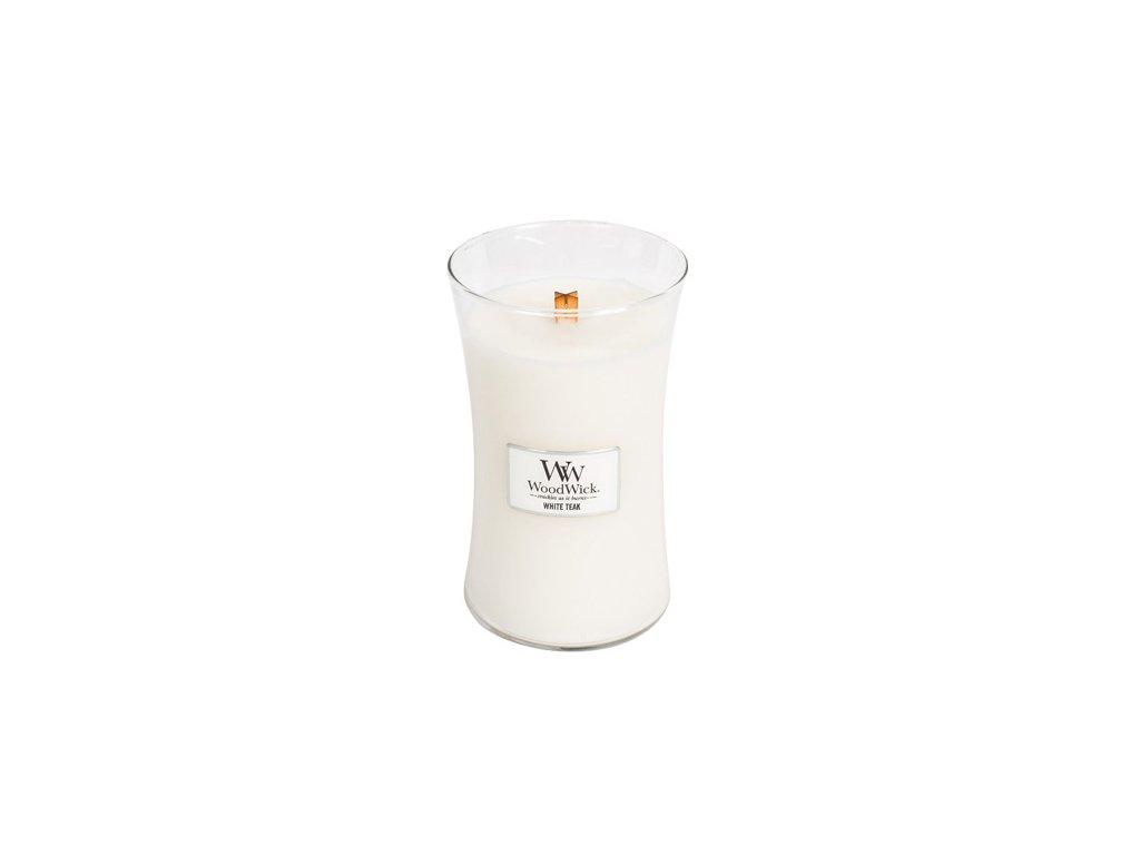 Svíčka oválná váza WoodWick Bílý teak 609.5 g
