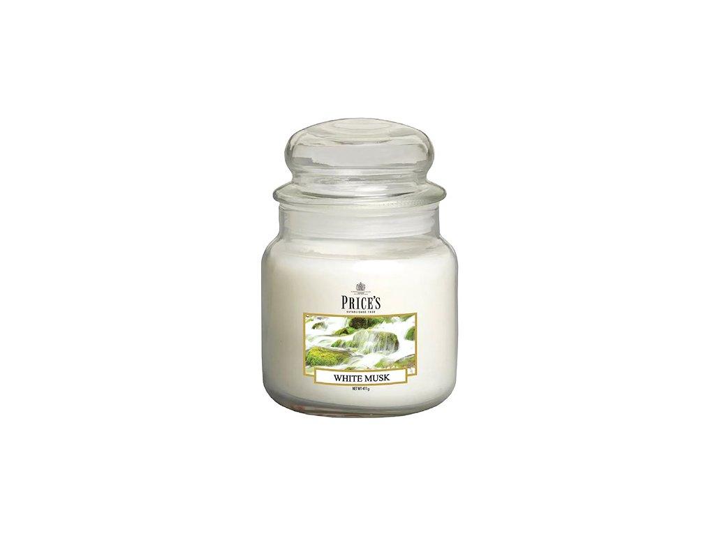 Svíčka ve skleněné dóze Price´s Candles Bílé pižmo 411 g