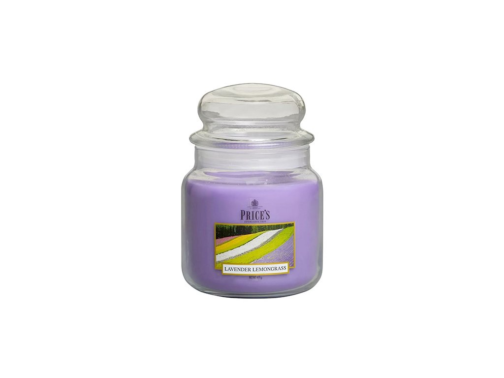 Svíčka ve skleněné dóze Price´s Candles Levandule a citronová tráva 411 g