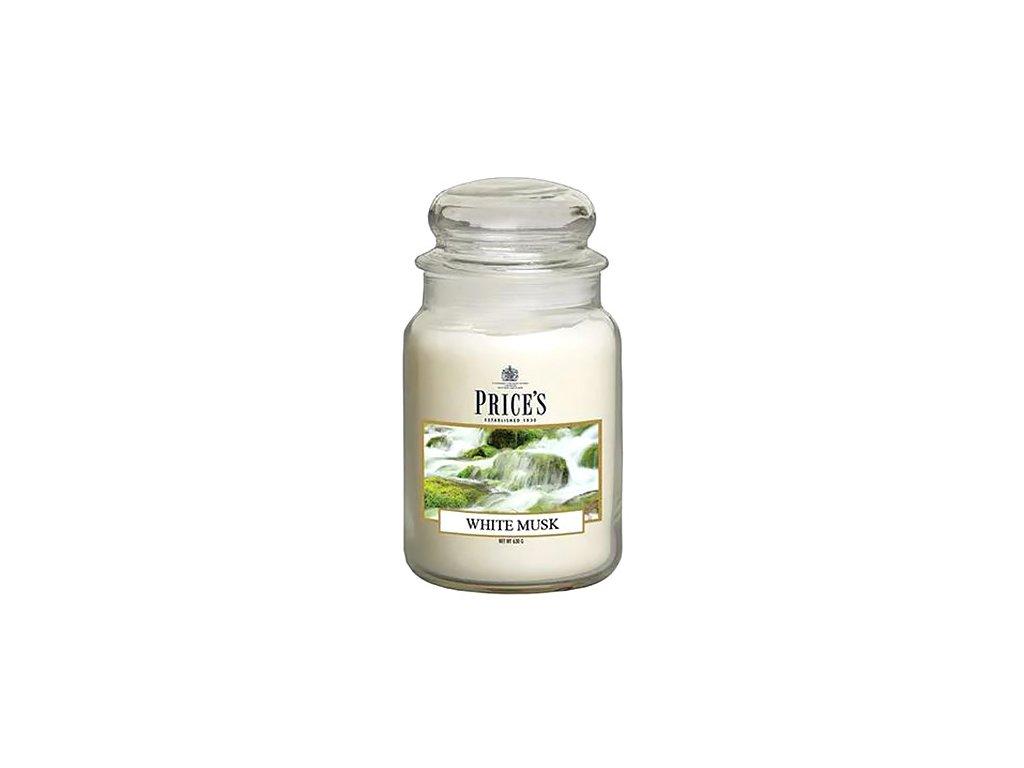 Svíčka ve skleněné dóze Price´s Candles Bílé pižmo 630 g