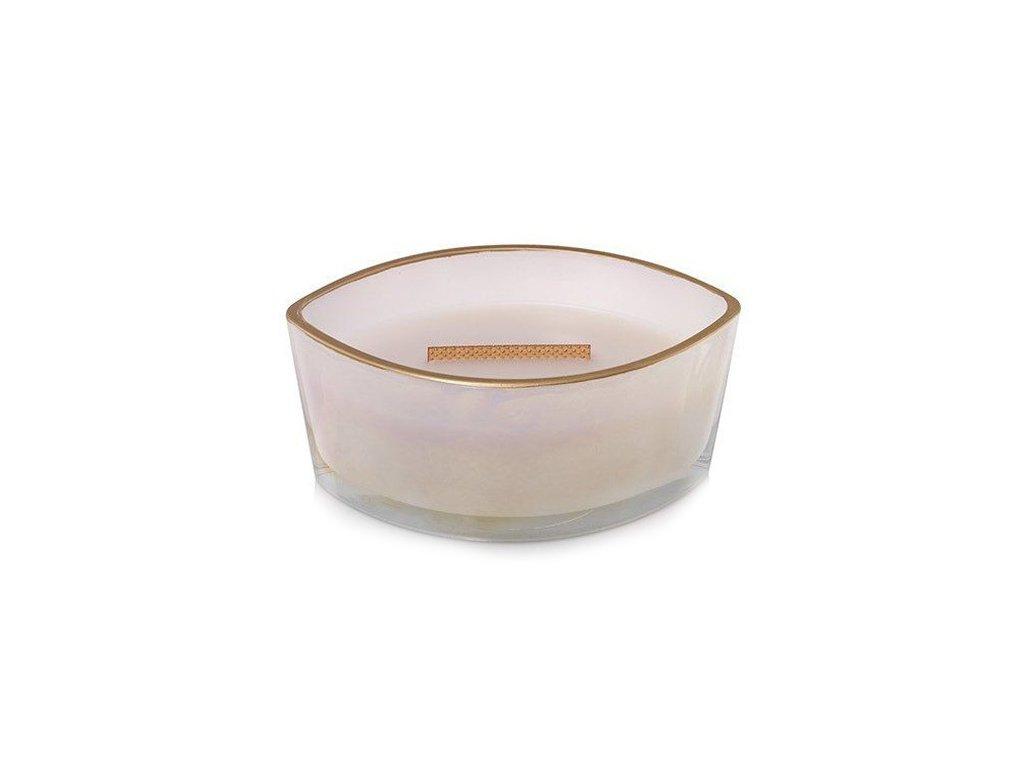 Svíčka dekorativní váza WoodWick Kouřový jasmín, perleť se zlatým lemem 453,6 g