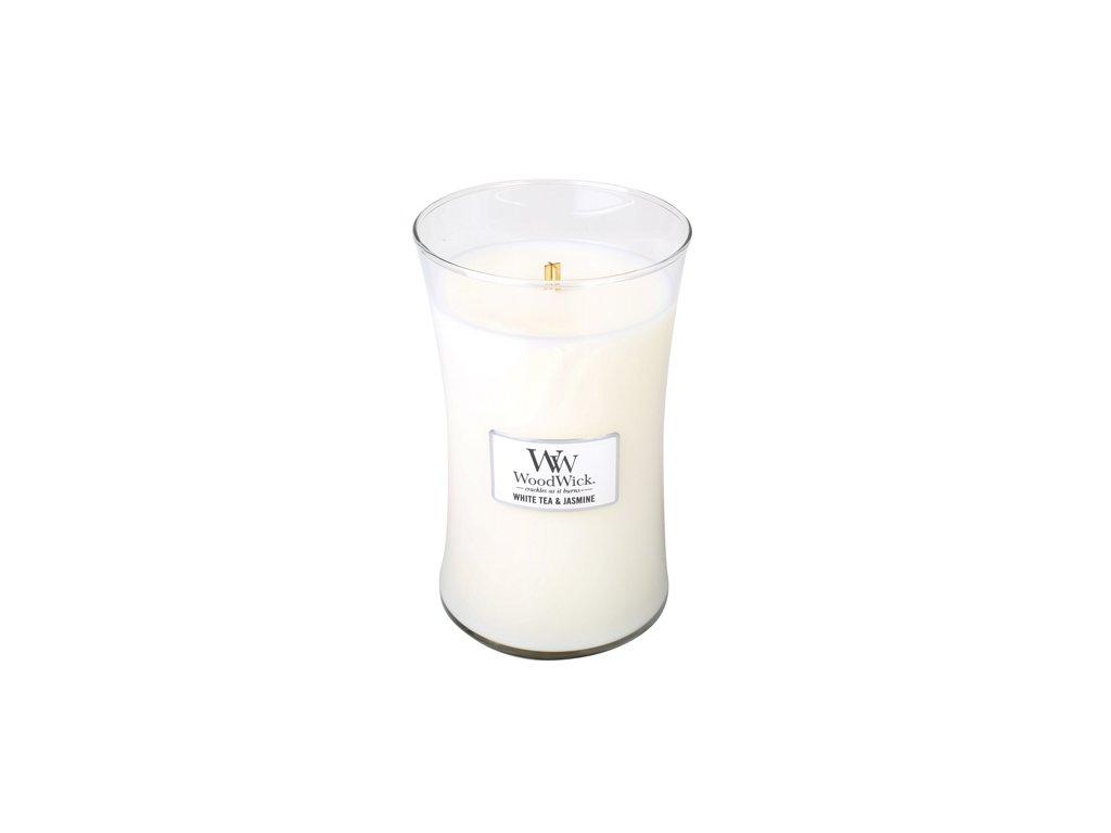Svíčka oválná váza WoodWick Bílý čaj a jasmín 609.5 g