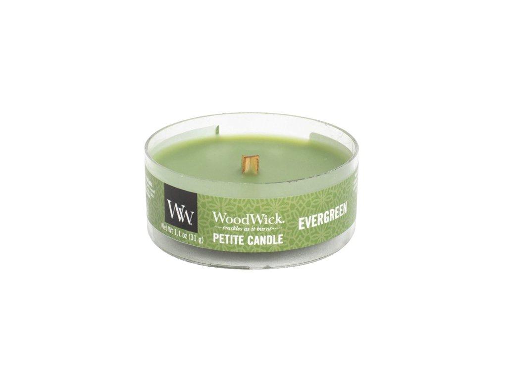 Svíčka WoodWick petite Vůně jehličí, 31 g
