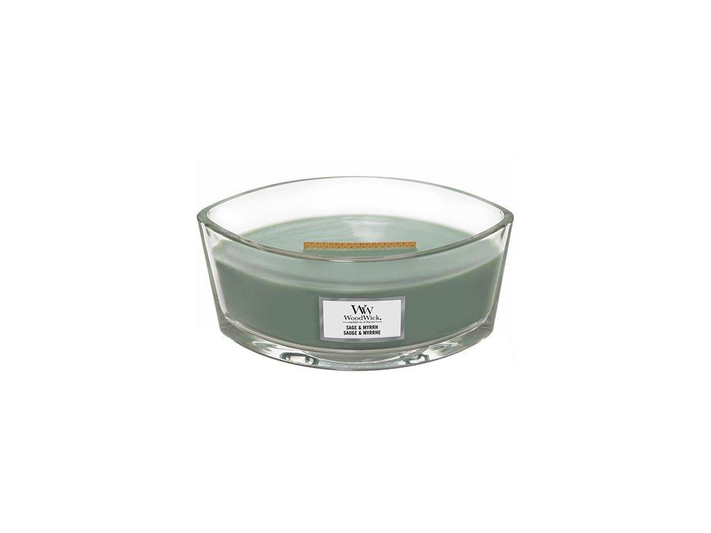 Svíčka dekorativní váza WoodWick Šalvěj a myrha 453.6 g