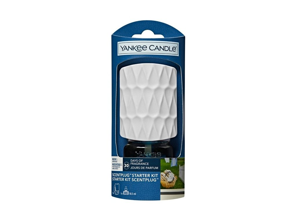 Yankee Candle Clean Cotton elektrický difuzér do zásuvky Organic Kit 18,5 ml