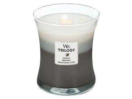Svíčka Trilogy WoodWick hřejivé dřevo, 275 g