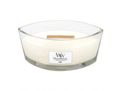 Svíčka WoodWick Linen Čisté prádlo, 453.6 g
