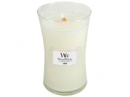 Svíčka WoodWick Linen čisté prádlo, 609,5 g