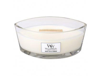 Svíčka WoodWick Bílý čaj a jasmín / White tea & jasmine, 453.6 g
