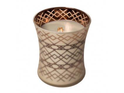Svíčka oválná váza WoodWick Oheň v krbu sváteční, 275 g