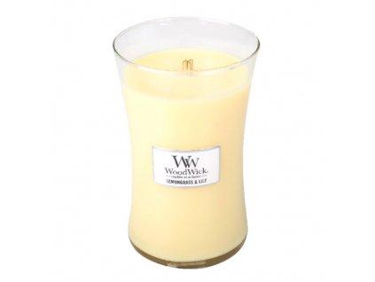Svíčka oválná váza WoodWick Citronová tráva a lilie 609.5 g