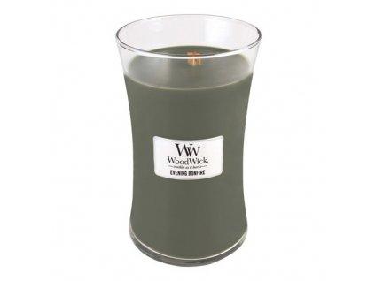 Svíčka oválná váza WoodWick Večer u táboráku 609.5 g
