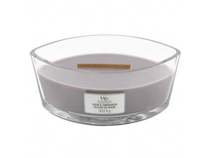 Svíčka dekorativní váza WoodWick Semišové santalové dřevo, 453.6 g