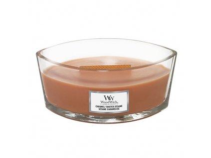 Svíčka dekorativní váza WoodWick Sezamové sušenky s karamelem, 453.6 g