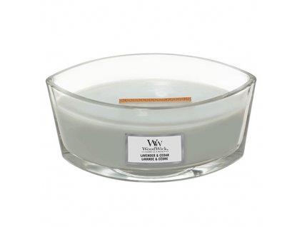 Svíčka dekorativní váza WoodWick Levandule a cedr, 453.6 g
