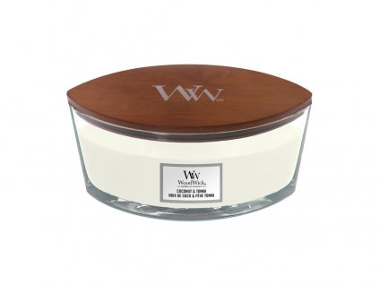 Svíčka dekorativní váza WoodWick Kokos a tonka 453.6 g