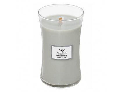 Svíčka oválná váza WoodWick Levandule a cedr 609.5 g