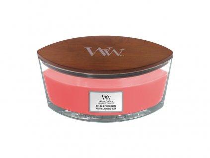 Svíčka dekorativní váza WoodWick Melon & Pink Quartz, 453.6 g