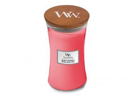 Svíčka oválná váza WoodWick Melon & Pink Quartz 609.5 g