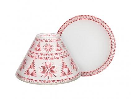 Yankee Candle stínítko a talíř Red Nordic Frosted Glass velký