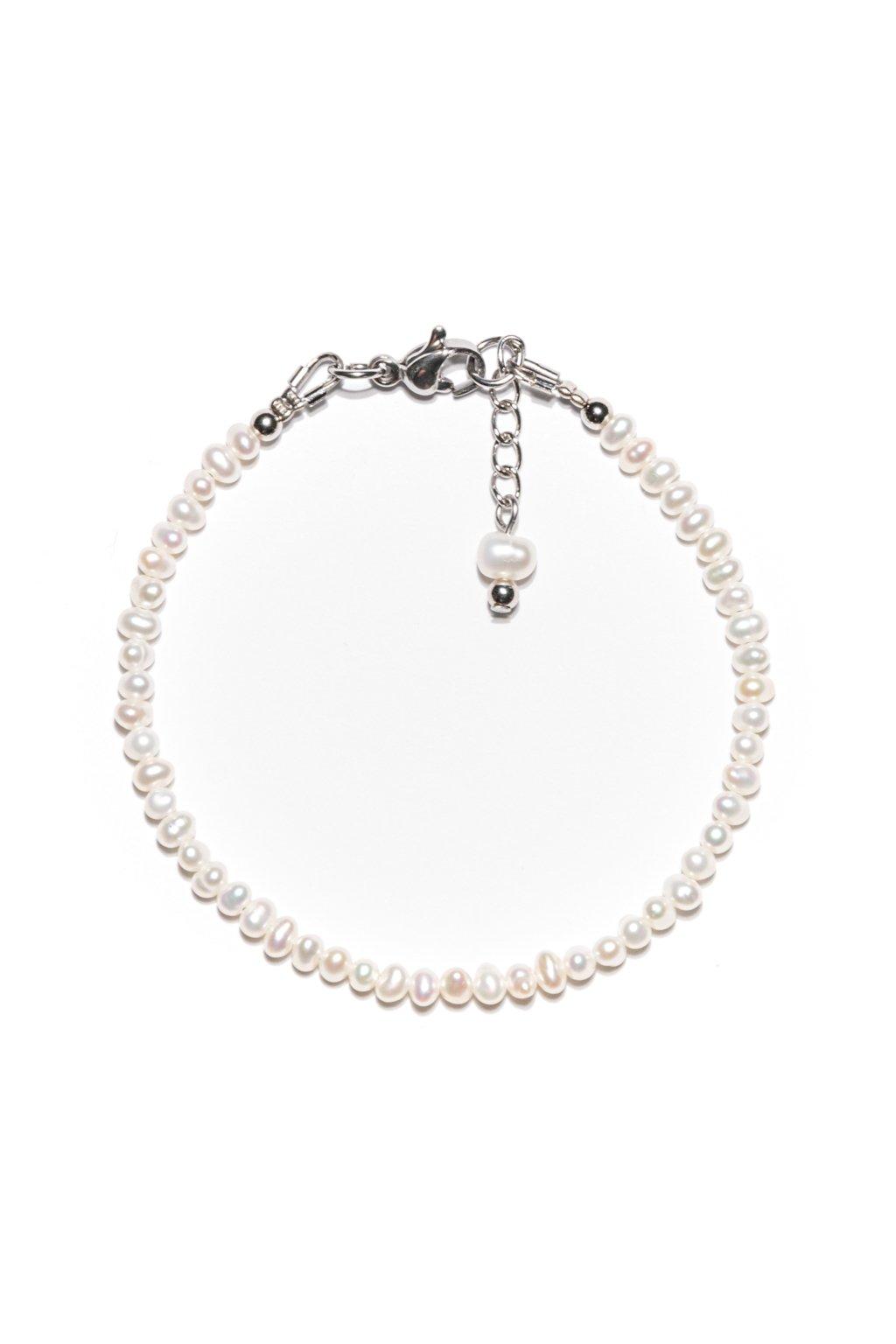 134 Jemnulinký náramok riečna perla s karabínkou
