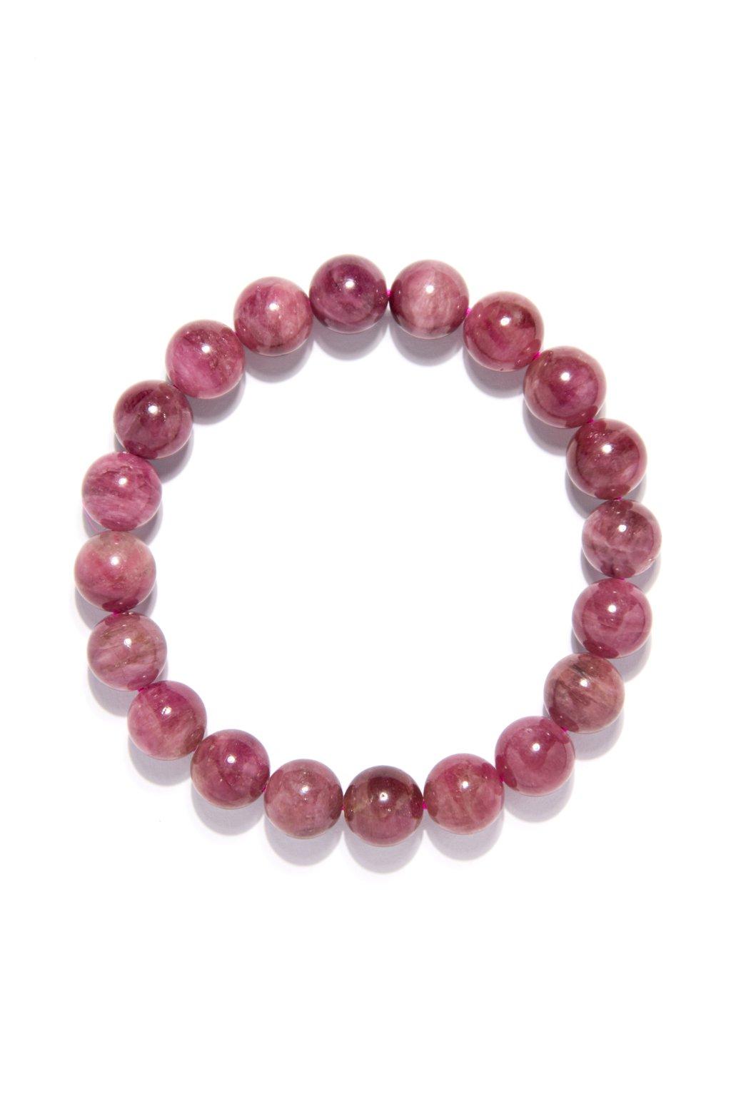 190 Ružový turmalin svetly (rubelit) náramok 10mm