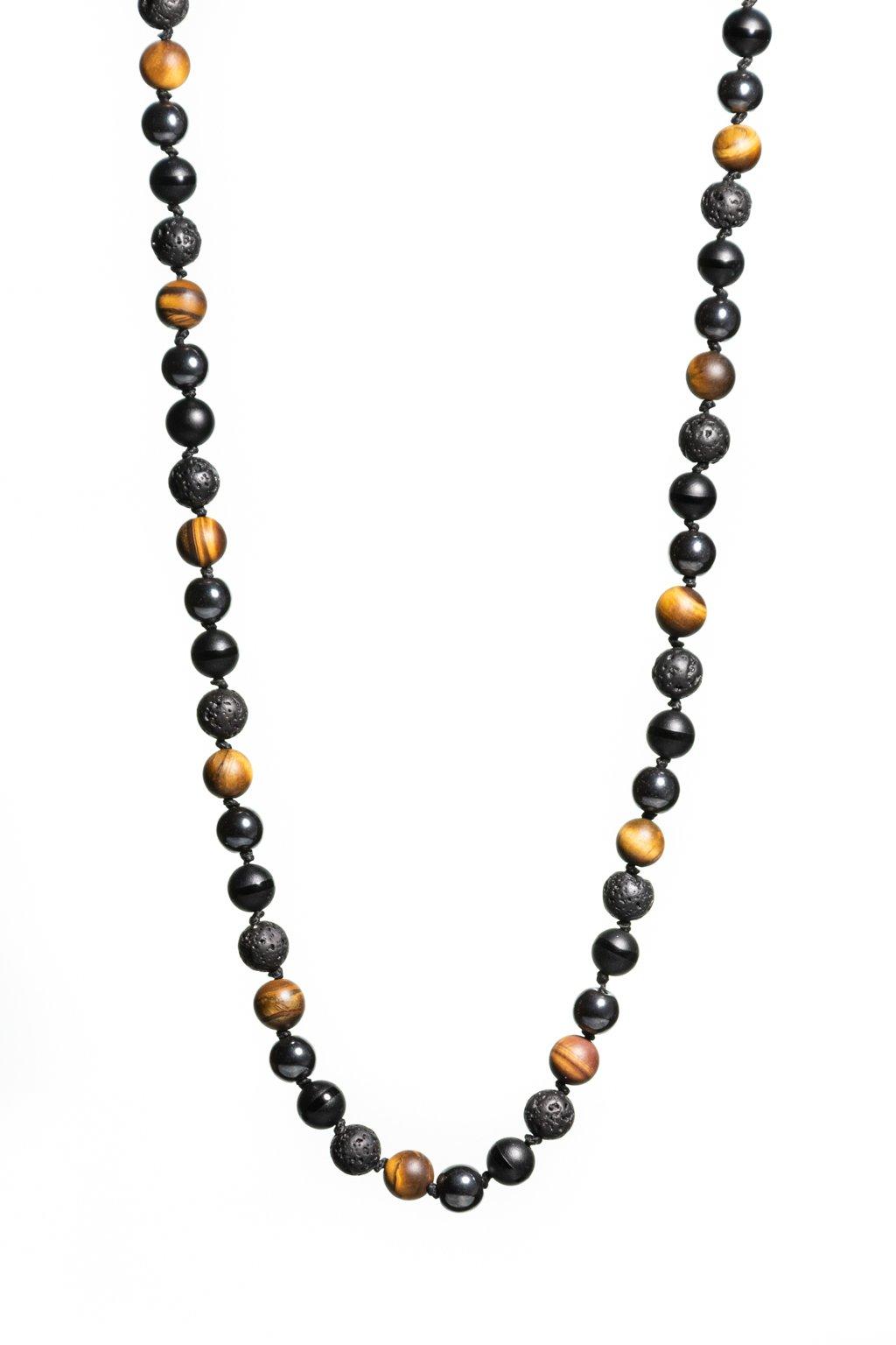 Pánsky náhrdelník NAJOBĽÚBENEJŠÍ MIX z minerálov ACHÁT, HEMATIT, TIGRIE OKO, LÁVA