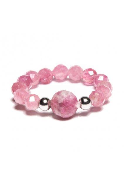 Dámsky prsteň z ružového turmalínu ozdobený s nerezovými guľočkami