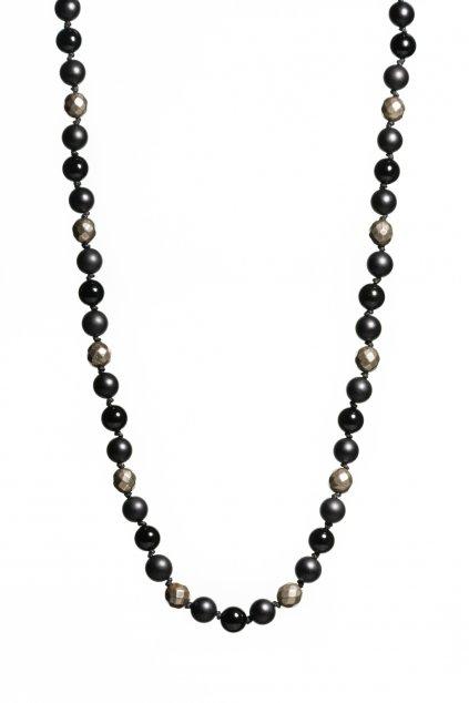 náhrdelník achát, ónyx, pyrit