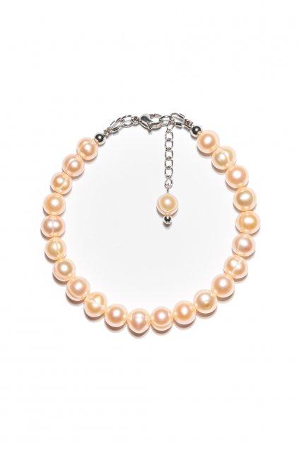 138 Náramok riečna perla ružová s karabínkou