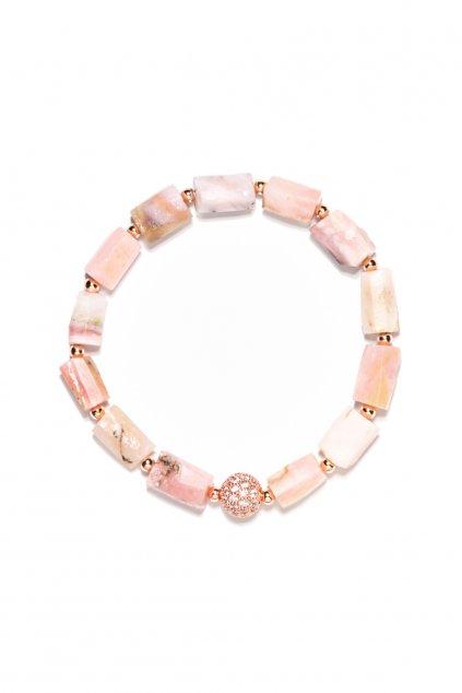 156 Dámsky náramok ružový opál, rose gold ZC komponent valček, gumička