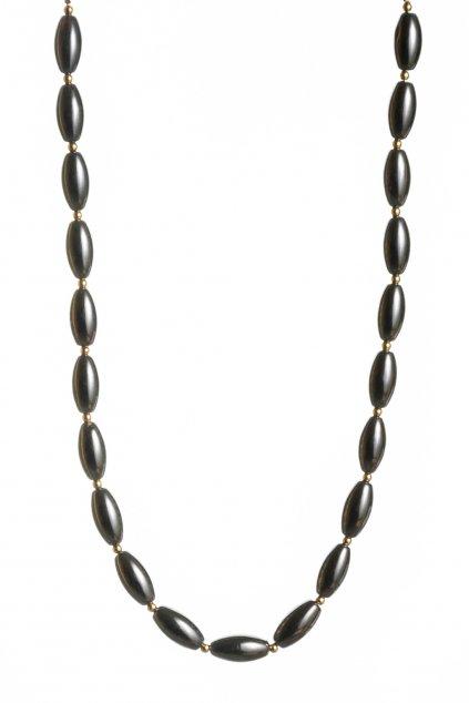 Dámsky náhrdelník z hematitu doplnený zlatými nerezovými gulôčkami