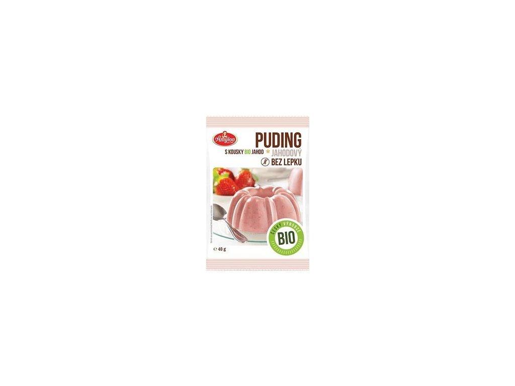 Pudink jahodový s kousky  ovoce Amylon BIO