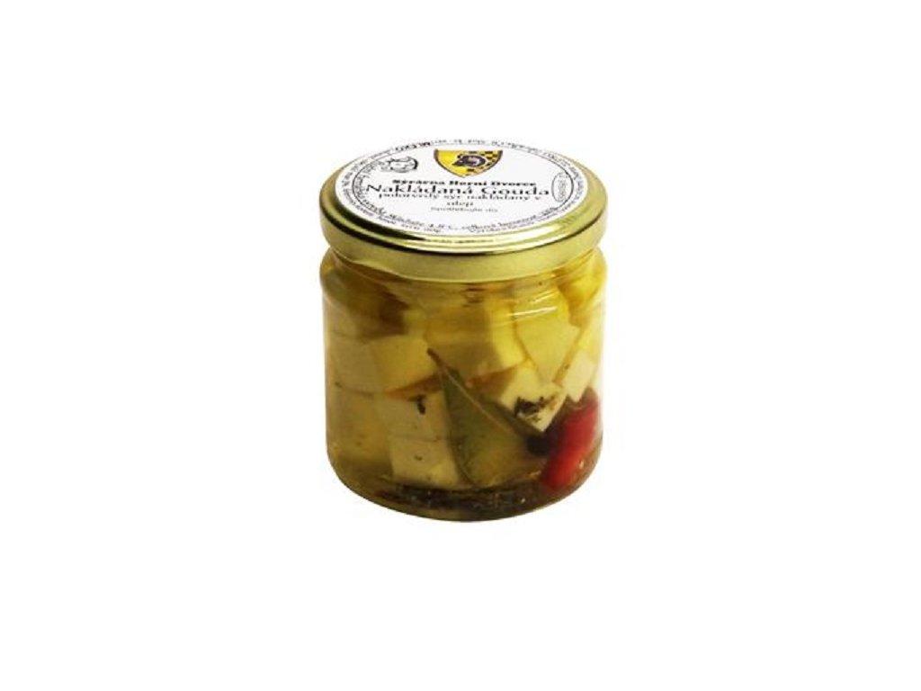 HD - Nakládaný sýr Gouda polotvrdý 70g sklo - 150g