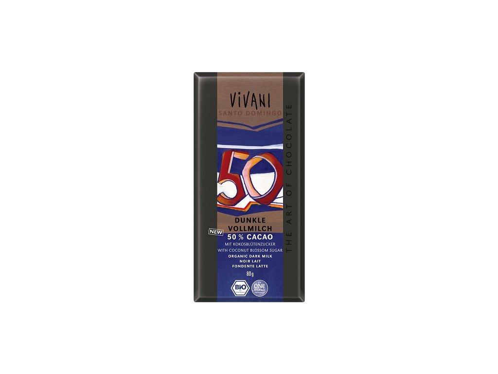 Čokoláda Vivani BIO mléčná 50%  kokosový cukr 80g