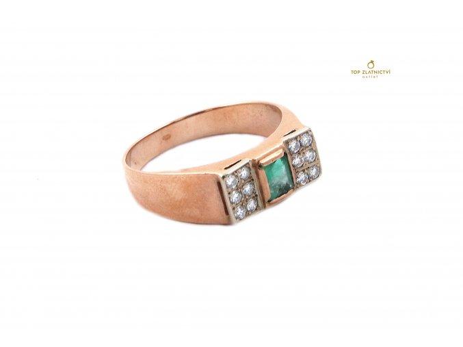 Zlatý prsten se smaragdem a diamanty 4.07g