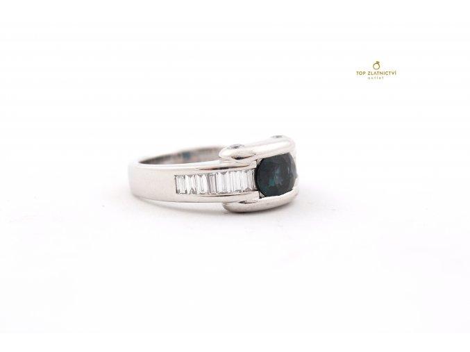 Zlatý prsten s Diamanty a Safírem 18.91g