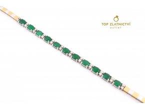 Zlatý náramek s diamanty a smaragdy 18.52g