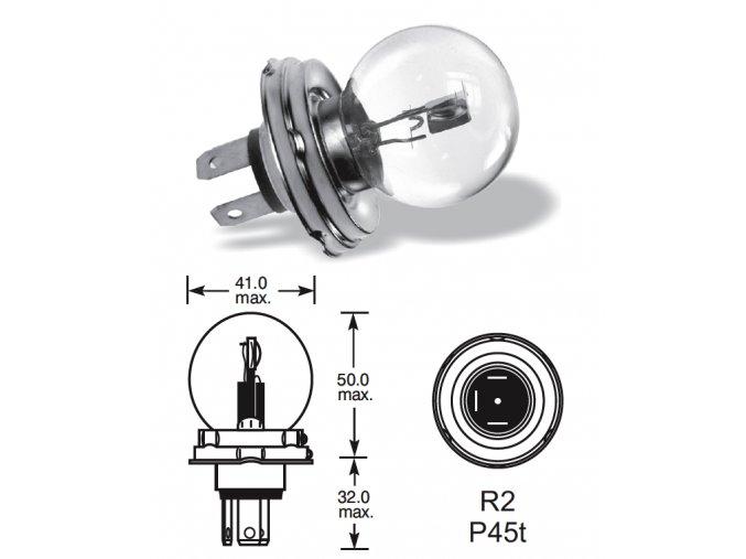 6V 45-40W asymetrická P45t-41, Elta