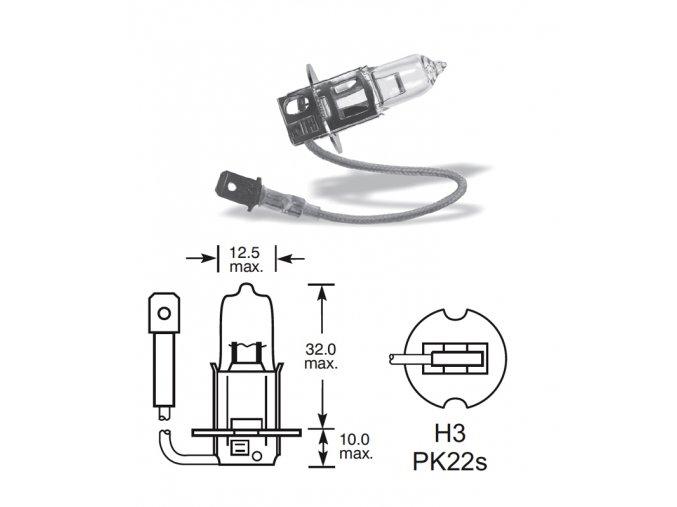12V H3 35W Pk22s, Elta