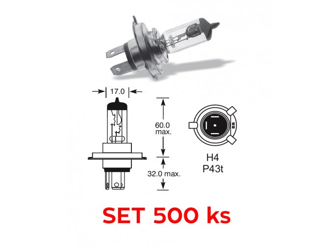 12V H4 60-55W P43t, Elta - set 500 ks