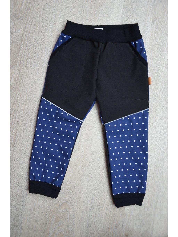 Soft kalhoty  puntík na modré 104