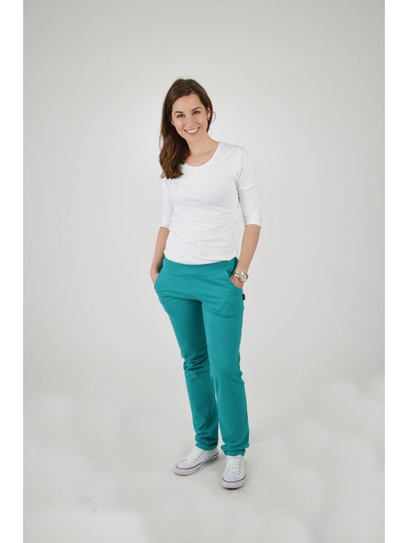 Kalhoty BELLA smaragdová