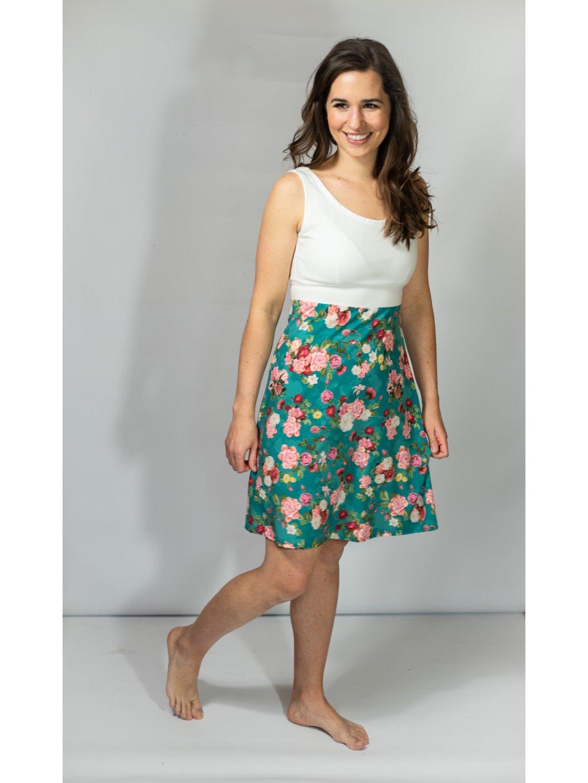 Šaty VIVIEN tyrkysové květy bílá
