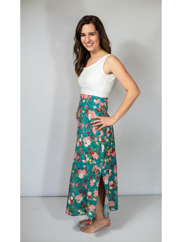 Šaty VIVIEN tyrkysové květy bílá dlouhé