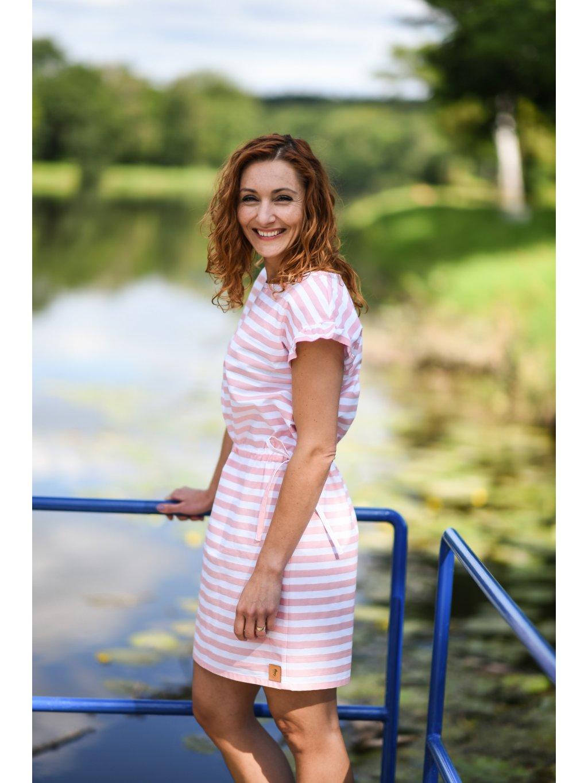 Šaty MAGDA růžový proužek