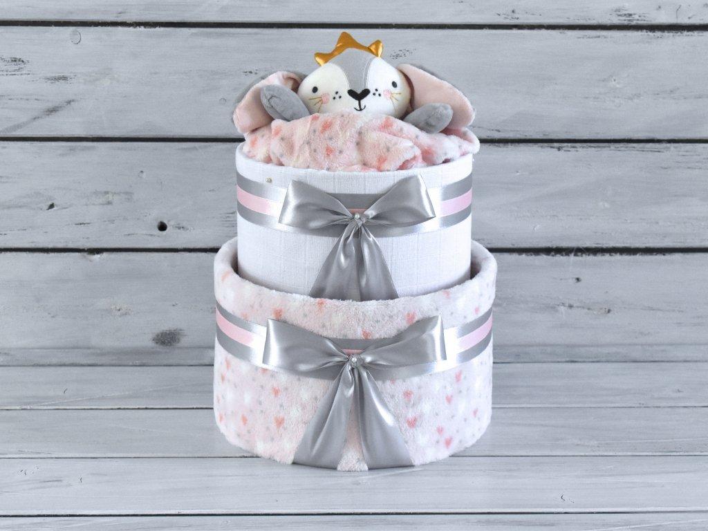 Dvojposchodová plienková torta XV. pre dievčatká ozdobená princeznou